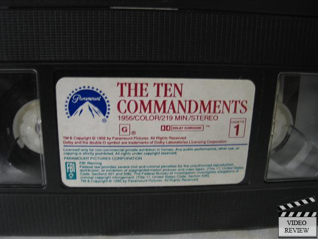Ten Commandments, The * Vhs Charlton Heston 97360652437 | Ebay